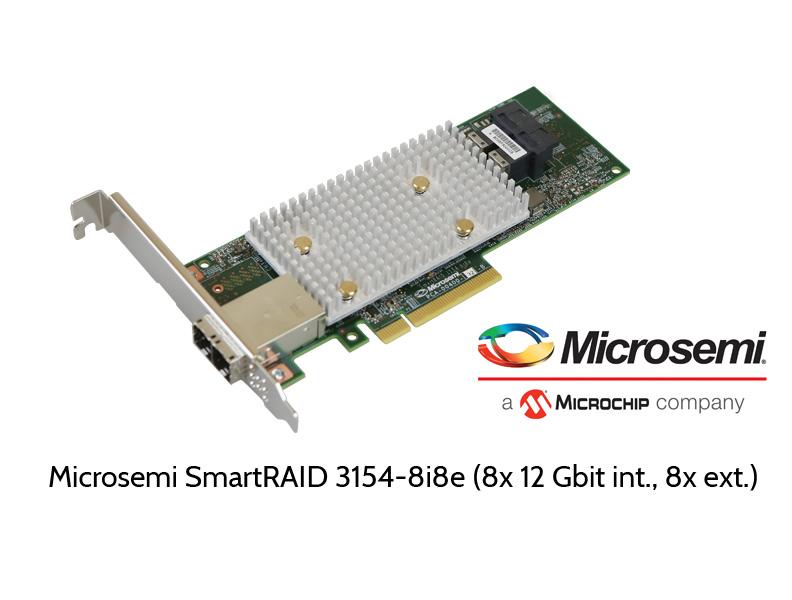 Microsemi 3154-8i8e, 16 Gbit SAS RAID controller, 8 internal, 8 external ports