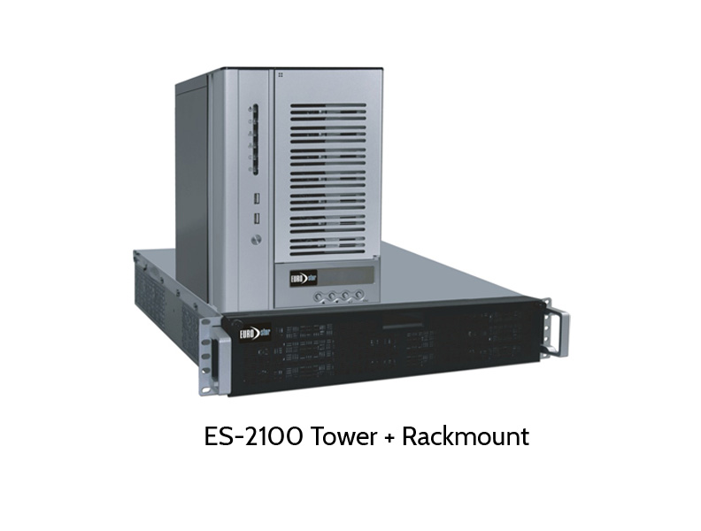 Tower and rackmount system of EUROstor ES-2100 iSCSI/NAS series