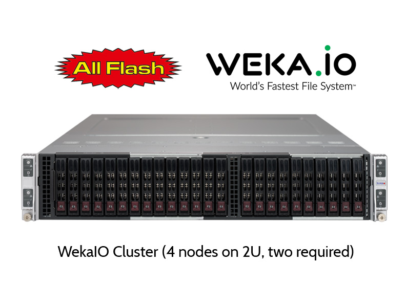 WekaIO Cluster - 4 nodes on 2U